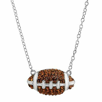 Crystaluxe Football Pendant With Swarovski Crystals in Sterling Silver