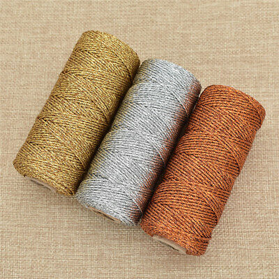 100m DIY Metallic Golden Gold Silver   Rope Baker Twines for Craft Gift