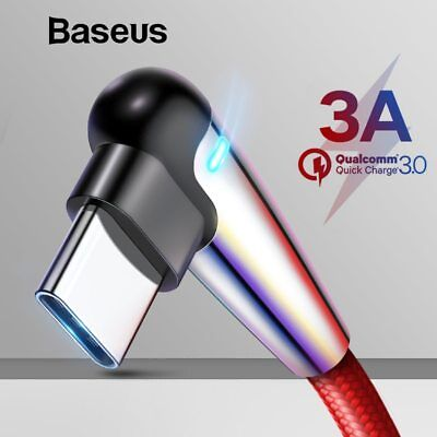 Baseus 90 Degree LED Type C Quick Charge QC3.0 USB-C Charging Data Sync Cable