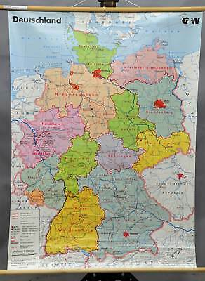 vintage pull-down wall chart, map, Germany political, federal states