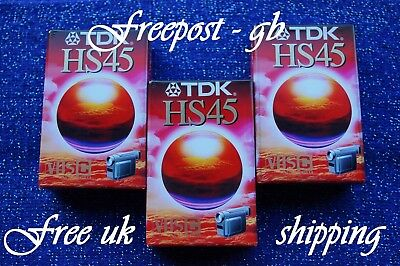 3 x TDK EC-45HS VHS-C VIDEO CAMCORDER TAPES / CASSETTES - SUPER QUALITY - NEW