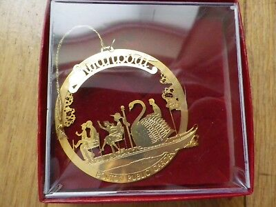 CHRISTMAS TREE ORNAMENT SOLID BRASS Swanboat BOSTON IN BOX