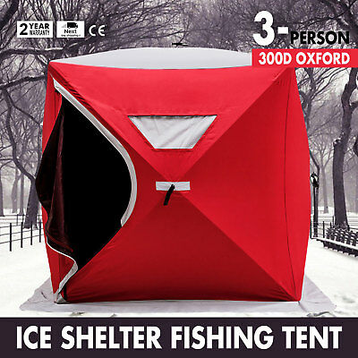 Portable Pop-up 3-person Ice Shelter Fishing Tent Shanty w/ Bag Ice Anchors Red