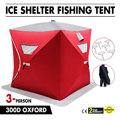 Pop-up 3-person Ice Shelter Fishing Tent Shanty Stability Lightweight Room