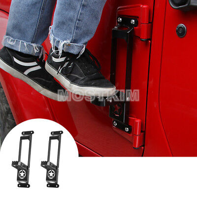 Black Car Door Hinge Side Foot Pedal Step 2pcs For Jeep Wrangler JL 2018-2019