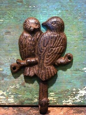 Cast Iron Brown Lovebird Coat Hat Towel Bath Kitchen Garden Shed Hook Home Decor