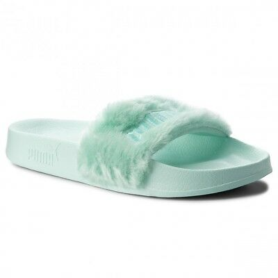 Puma Womens Fenty by Rihanna Riri Green Fur Slide 36577201 Sandals Shoes 00cb8cbed