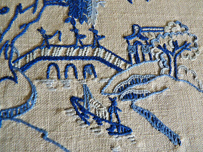 BLUE WILLOW PATTERN  Stunning Vintage Hand Embroidered Table Centre Doily