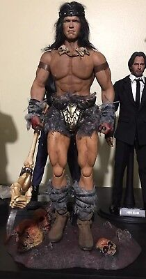 "1/6 Scale Custom Hot Toys 12"" Conan the Barbarian with Axe and Skull Stand OOAK"
