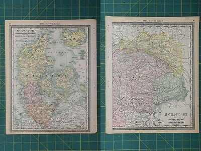 Denmark Vintage Original 1892 Antique Rand McNally World Atlas Map Lot