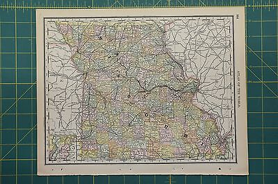 Missouri Vintage Original Antique 1892 Rand McNally World Atlas Map Lot