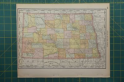 North Dakota Vintage Original 1892 Rand McNally World Atlas Map Lot