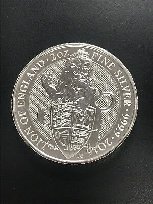 2016 Great Britain 2 oz .9999 Silver Queen's Beasts The Lion