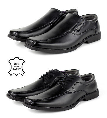 Mens Leather Shoes Slip on Black Formal Smart Lace Up Wedding Dress Office Style