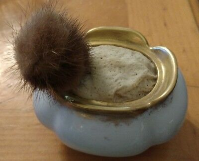 vintage porcelain pin cushion and mink stick pin
