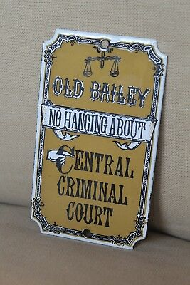 "Genuine Antique Old Bailey Enamel Sign Dodo Designs ""no Hanging About"""