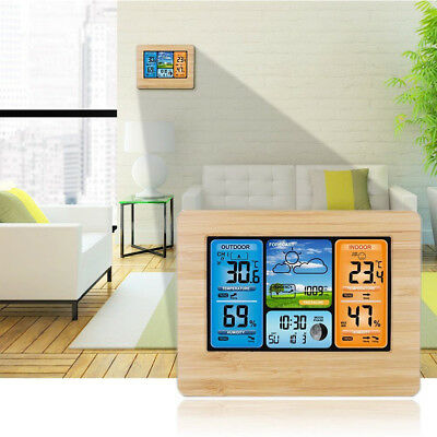 Outdoor Indoor Digital LCD Wireless Color Weather Station Calendar Thermometer K