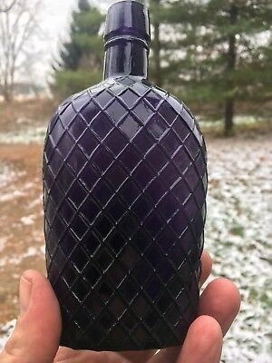 Purple 1/2 Pint Size Diamond Quilted Flask