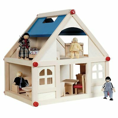 Wooden Kids Doll House With Furniture & Doll Family 19pc Girls Xmas Gift New