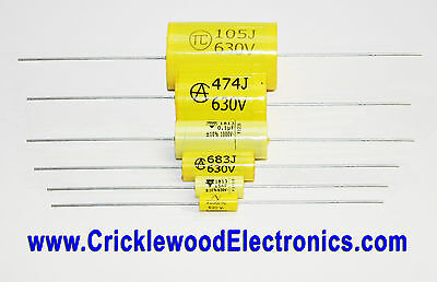 Polyester Axial Capacitor 250V 400V 630V1000V 1000pF to 4.7uF Audio Quality MKT