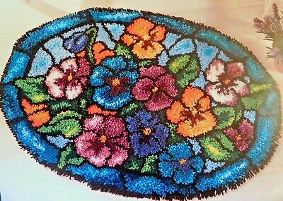 """LATCH HOOK RUG KIT  """"STAINED GLASS PANCIES"""" Floral design by Craftways"""