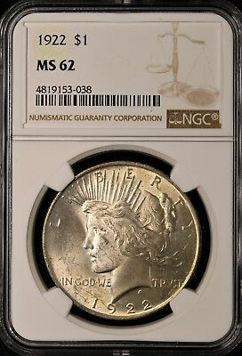 1922 Peace Silver Dollar - NGC MS62 - BRILLIANT UNCIRCULATED - #153-038