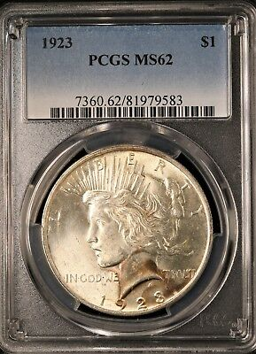 1923 Peace Silver Dollar - PCGS MS62 - BRILLIANT UNCIRCULATED - #583