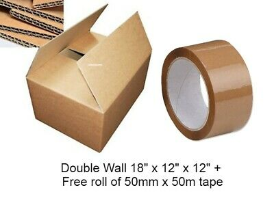 1 MOVING BOXES Double Wall LARGE Cardboard Box ✔Removal Packing Shipping✔ + TAPE