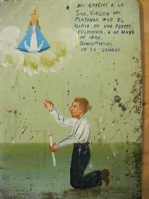 Original Antique Exvoto On Tin Dated 1948 Man  Thanking Our Lady For Favor