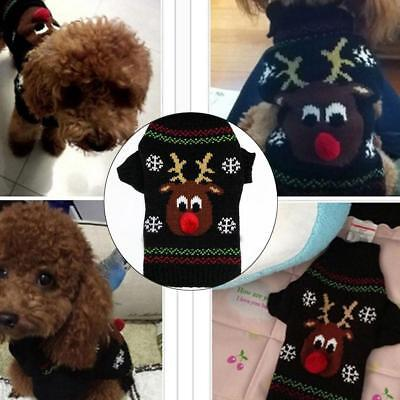 Christmas Pet Dog Cat Knitted Jumper Sweaters Doggy Xmas Elk Printed Warmer Coat