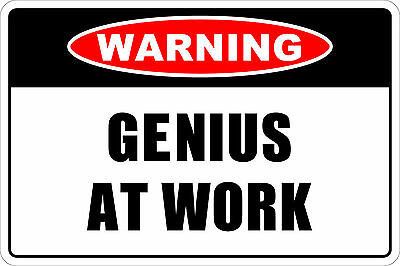 PP0002 Vintage Warning Plate Genius at work Rustic Sign Room Office Decor Gift