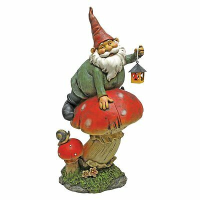 "14"" Tesla with Lamp Garden Gnome Statue Outdoor Decor Figurine Elf Figure"