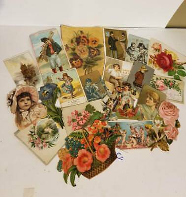 21 pc Antique Victorian scrap pieces picture clippings trade card ephemera lot C