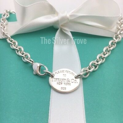 Please Return To Tiffany & Co Sterling Silver Oval Tag Necklace