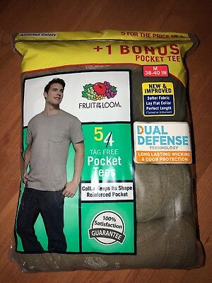 Fruit of the Loom Men's Pocket T-shirts Tees 10-pack Assorted Colors 100% Cotton
