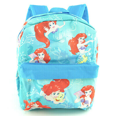 "Disney Ariel Backpack Girls Small 12"" Blue Printed Mermaid Front Side Pockets"