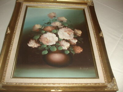 Large  Oil Painting Of Vase Of Flowers  Framed
