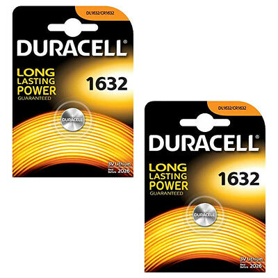Genuine Duracell 2X Cr1632 3V Lithium Coin Cell Battery Dl1632 Kcr1632, Br1632