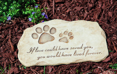 Pet Memorial Stone Dog Cat Grave Cemetery Garden Marker Headstone Paw Plaque