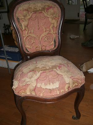 Antique Parlor chair  pair 1800's  victorian side  chair  Rococo revival