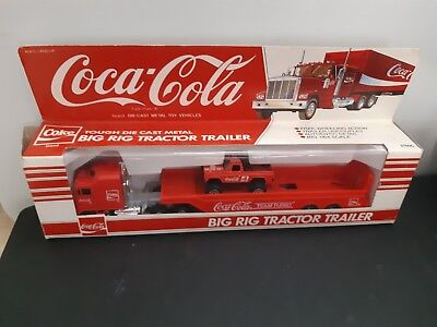 Coca Cola Tough Die Cast Metal Big Rig Tractor Trailer 1:64 Scale 3700C Red In B