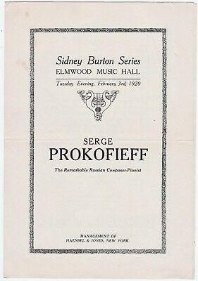 RARE Music Concert Program - Sergei Prokofiev Plays Piano 1920 Buffalo NY