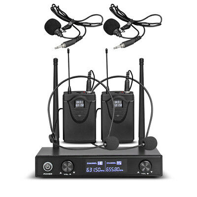 Pro Audio UHF Wireless Microphone System 2 Channel 2 Lavaliers Lapels 2 Headsets