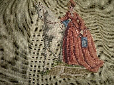 Vintage  needlepoint seat covers Pair of Horse-Victorian couple  - Paragon