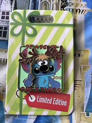 Disney Parks Christmas Season's Greetings Stitch 2018 Pin LE In Hand
