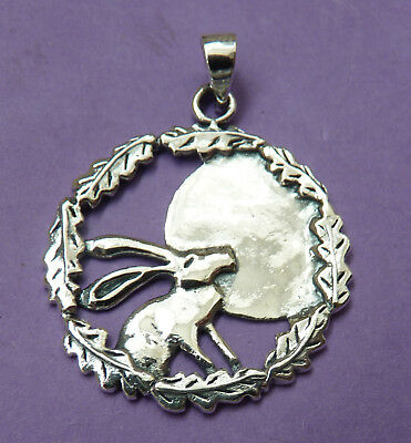 Sterling Silver MOON GAZING HARE Oak Leaf Surround Pendant. Pagan/Wiccan.