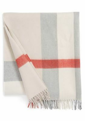 Burberry New Baby Blanket 100% Merino Wool Grey Beige Check Sold Out Nwot $270