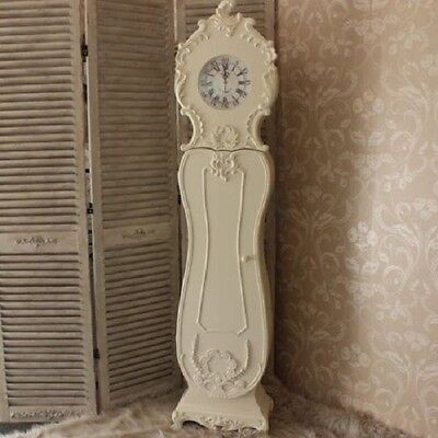 Antique Grandmother Clock Vintage Shabby Chic Floor Long Case Tall Grandfather