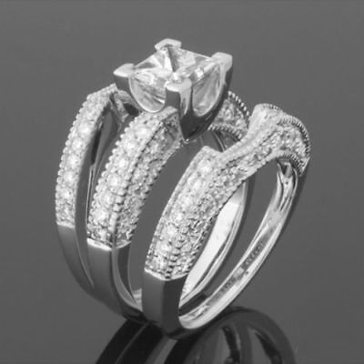 Diamond Band Ring Vs1 D Vintage 1.88 Ct 14K White Gold Anniversary Colorless