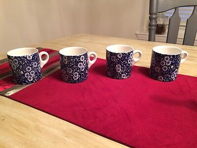 4 Vintage Staffordshire CALICO Coffee Cup/Mugs Crownford China Eng Blue Floral